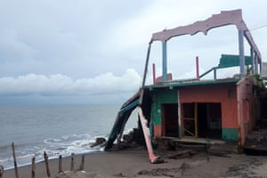 A bar and club destroyed by a tidal surge.