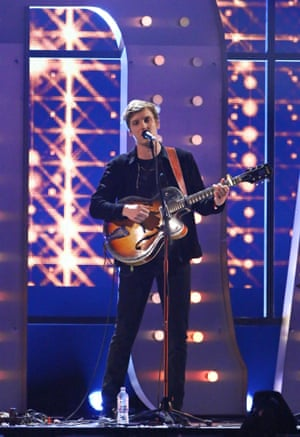 Still Hungary … George Ezra performs Budapest, which was nominated for the award for best British single – that was later given to Mark Ronson's Uptown Funk