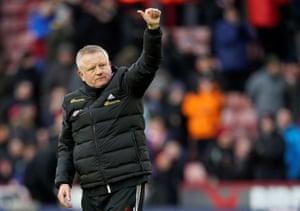 Chris Wilder celebrates after his team beat Bournemouth 2-1.