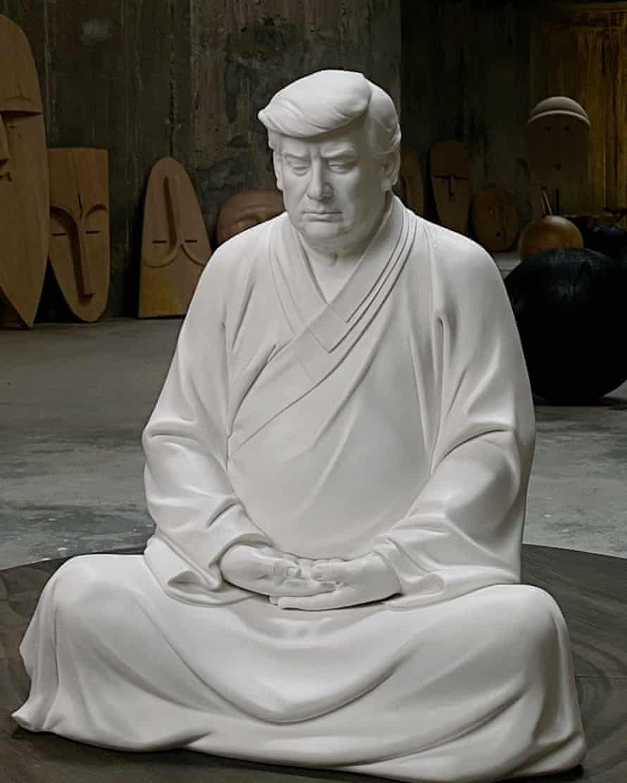 The Trump Buddha statue shows Donald Trump in a meditative pose.