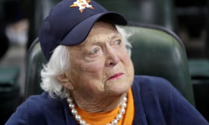 Former first lady Barbara Bush at game five of the 2017 World Series in Houston.