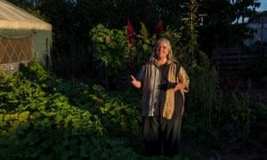 Patricia St Onge in her garden.