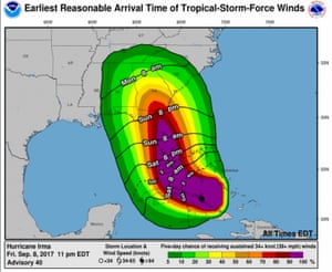 Earliest arrival times in Florida of tropical storm-force winds of Hurricane Irma
