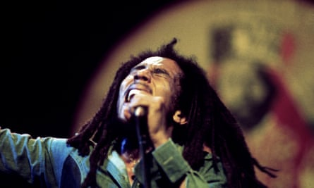 Bob Marley performing at the Rainbow theatre in London in 1977.