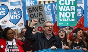 Len McCluskey takes part in a demonstration in London on Saturday.