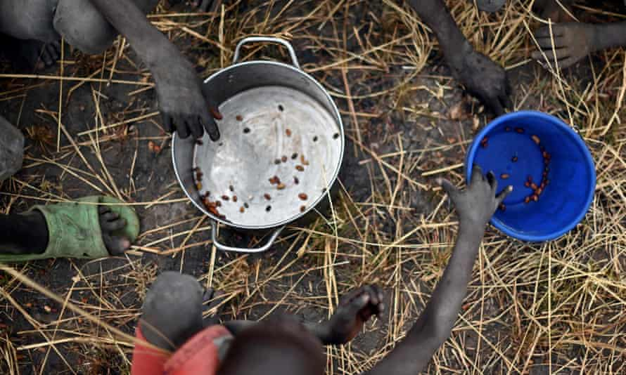 Children collect grain spilled on a field from bags that ruptured upon ground impact following a food drop from a plane in South Sudan.