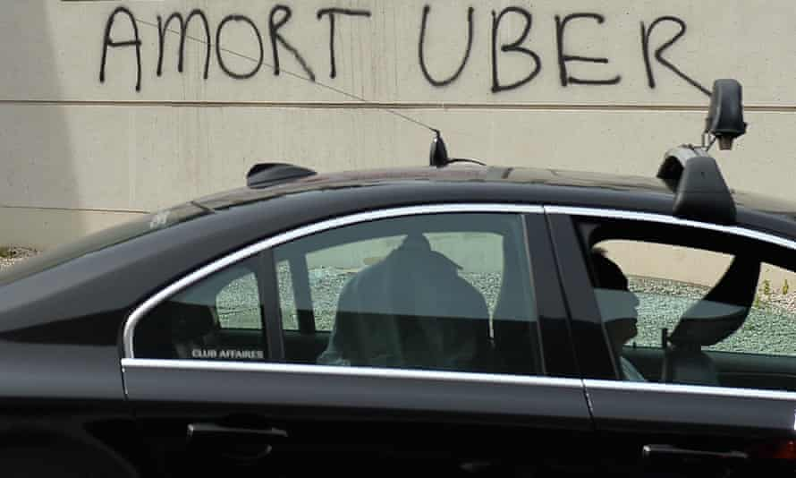 Taxis drivers protest in Paris against Uber.