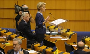 Ursula von der Leyen speaking in the European parliament.