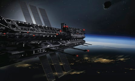 An artist's impression of an Asgardia shield, protecting the Earth from man-made and natural threats ranging from asteroids to space junk.