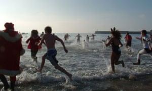 Christmas Swim Coney Beach Porthcawl South Wales
