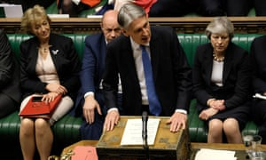 Philip Hammond delivering the autumn budget. He handed the NHS a £335m bailout.