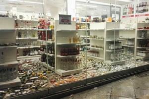 Fallen bottles in a liquor store in Kos