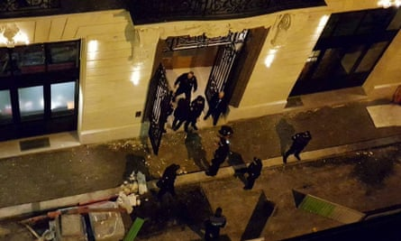 Aerial view of police outside the Ritz in Paris