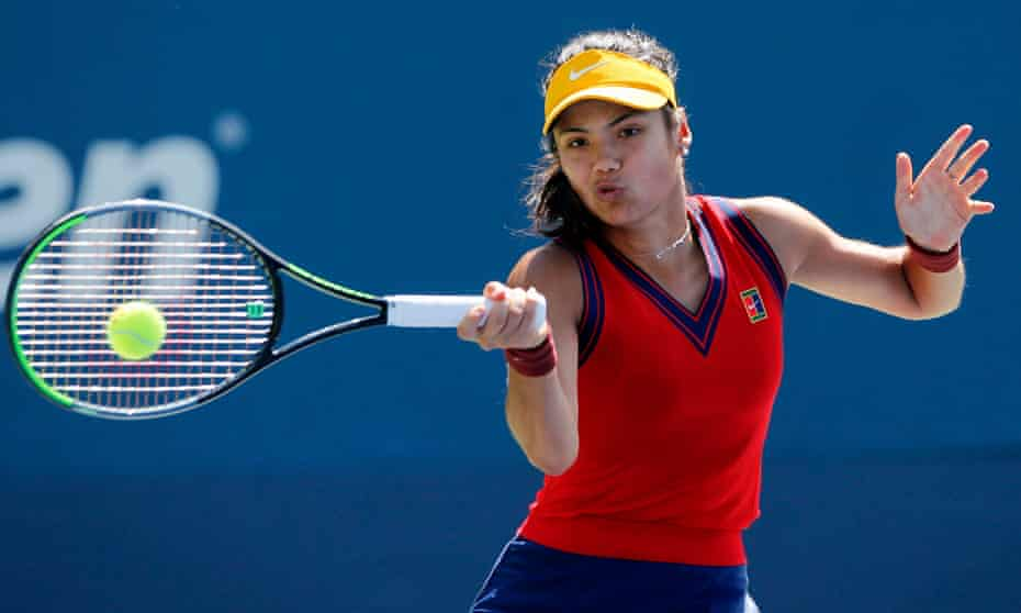 Emma Raducanu fires a forehand at Zhang Shuai in their second-round match at the US Open.