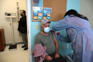 Antonio Avila, 73, receives a coronavirus vaccination, at East Valley Community Health Center in La Puente, California, US, on 5 March, 2021.