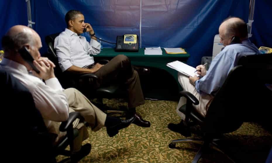 Keeping it private … Barack Obama is briefed in a tinfoil-lined tent on the situation in Libya, 2011.