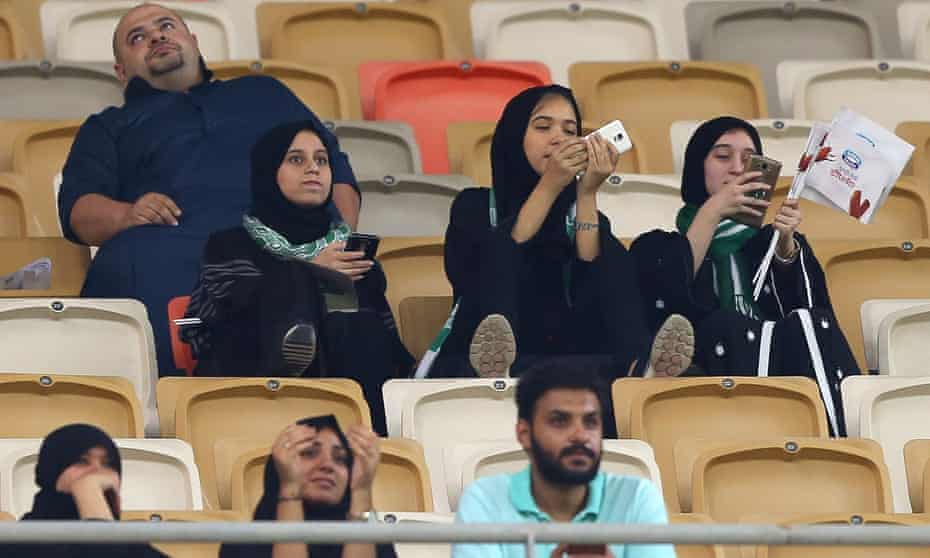 Female supporters of Al-Ahli get the chance to cheer on their team from inside the stadium in Jeddah for the first time