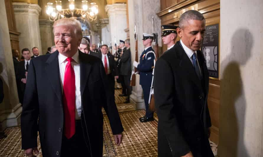 Obama with Trump as the latter is sworn in as president in January 2017. Obama said: 'If we were going to have a rightwing populist in this country, I would have expected somebody a little more appealing.'