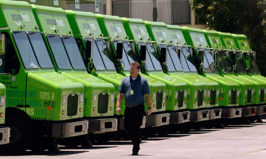 A fleet of Amazon Fresh delivery vehicles in Inglewood, California.
