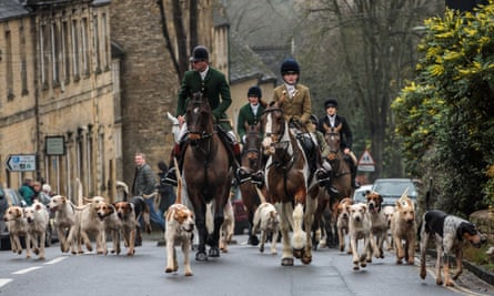 Riders and their hounds in Chipping Norton, Oxfordshire.