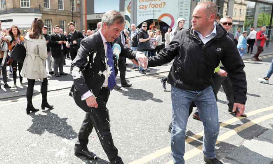 Nigel Farage after being hit by a milkshake while campaigning in Newcastle, May 2019