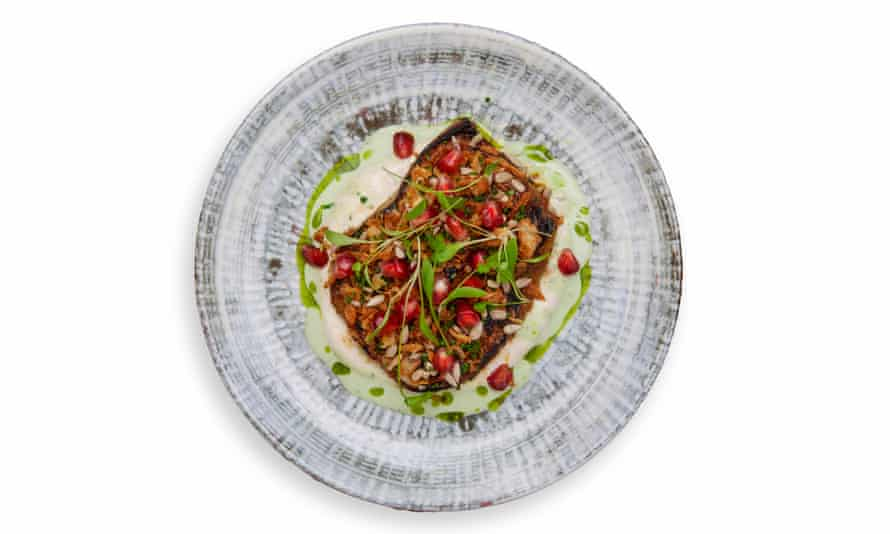 'Glazed with miso, pelted with pomegranate seeds': roast aubergine.