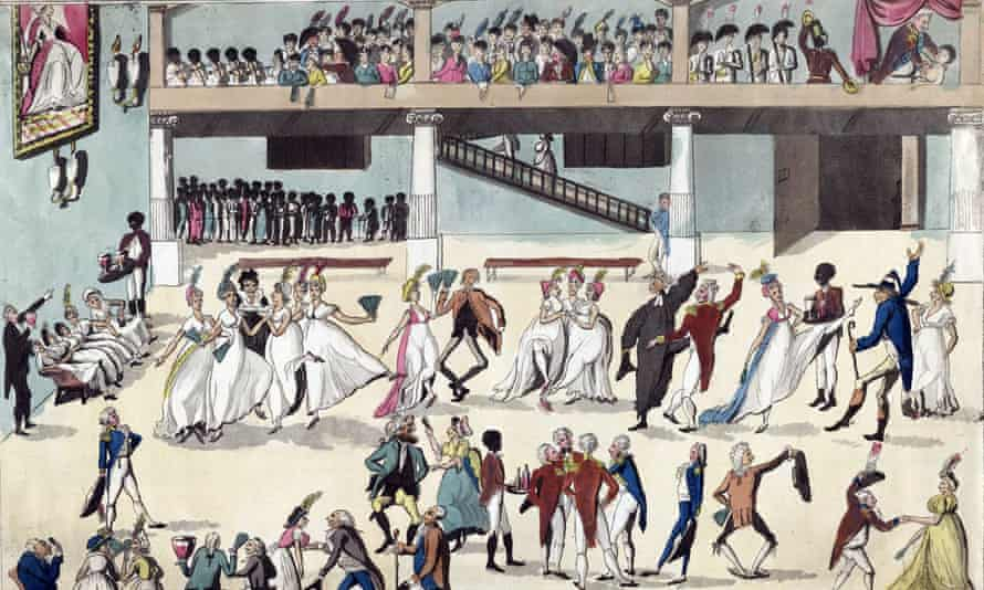 A contemporary rendition of British colonists served by African slaves at a ball in Spanish Town, Jamaica, between 1800-1809.