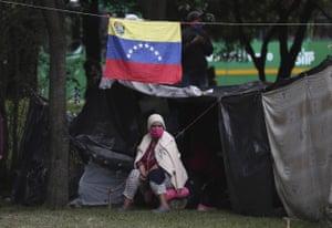 A homeless Venezuelan in Bogota, Colombia