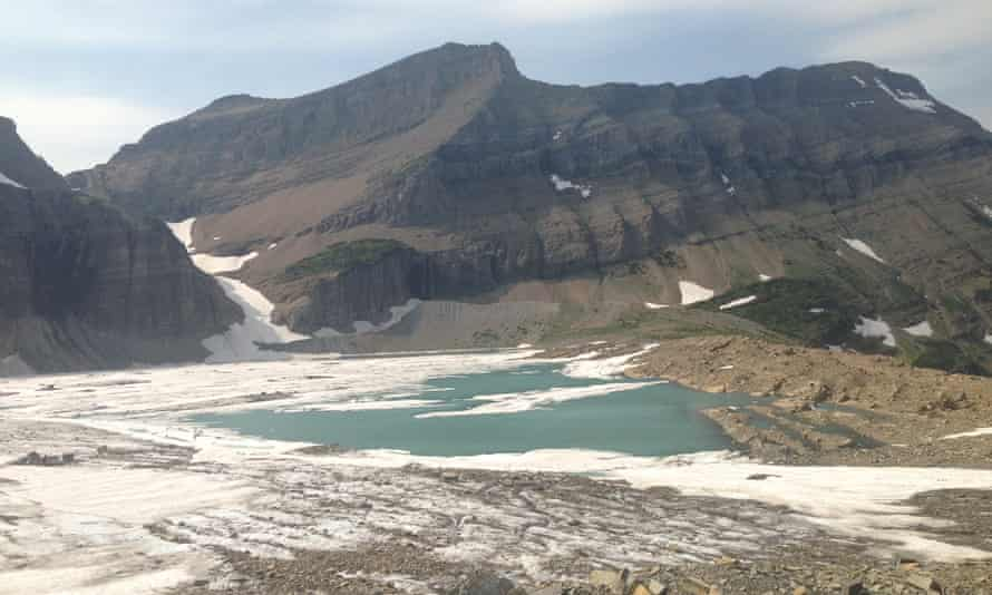 Meltwater forms a pool at Montana's glacier national park, where scientists have revealed dramatic levels of shrinkage.