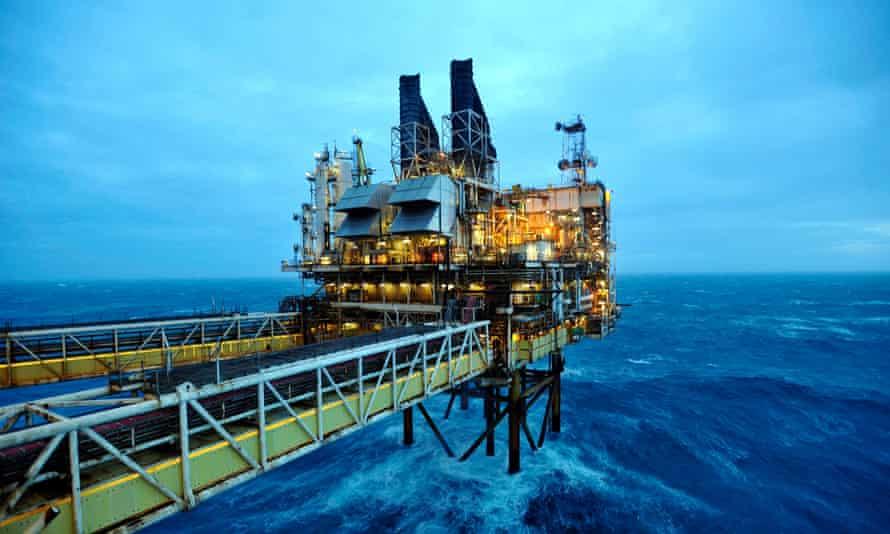 Oil rig off Scotland in the North Sea