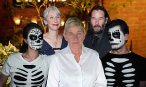 Composite of celebrities and halloween costumes, including Ellen and Keanu Reeves