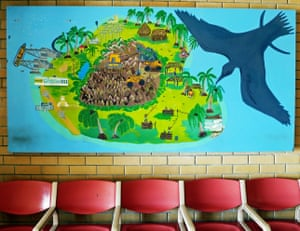 The Nauru airport features an illustrated map of the country