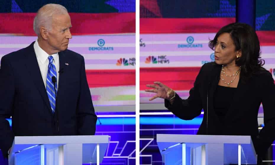 Joe Biden and Kamala Harris speak during the second Democratic primary debate, in Miami in June.