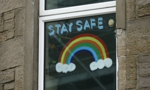 """A handmade """"stay safe """" on a flat window in Dundee, Scotland."""