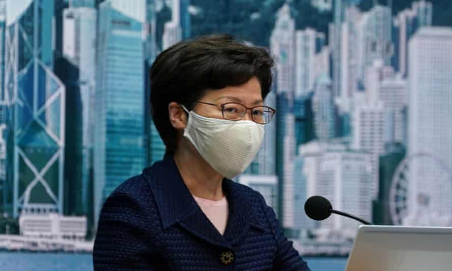 Carrie Lam at a news briefing in July. The sanctions are among the most high-profile taken by the US administration in a broad campaign to challenge China.