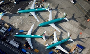 737 Max planes parked on the tarmac at the Boeing factory in Renton, Washington