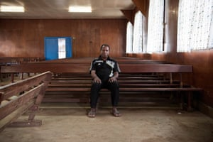 Bishop Jack Urame, who opposes what he says is an irrational belief in sanguma. He is pictured in the Lutheran church in Goroka