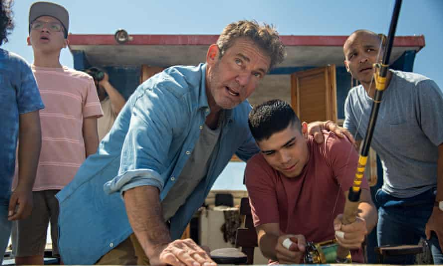 Anthony Gonzalez, Dennis Quaid, Miguel Angel Garcia and Jimmy Gonzales in Blue Miracle.