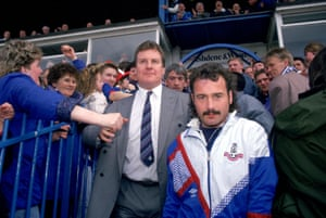 Happy faces abound around Boundary Park on the last day of the 1990-91 season as Oldham fans celebrate Joe Royle guiding the club to promotion.