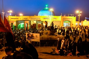 Thousands of pilgrims gather around the memorial mosque for Nowruz, the Iranian new year that marks the return of spring at the end of March