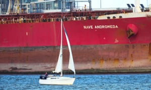 A sailboat close to the Nave Andromeda oil tanker in Southampton docks after the incident in October.