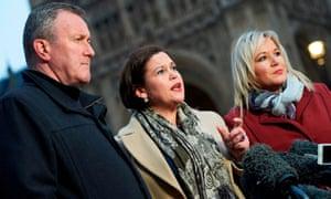 Sinn Féin's Conor Murphy, president Mary Lou McDonald, and vice-president Michelle O'Neill .