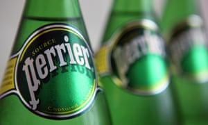 Bottles of Perrier water<br>Bottles of Perrier water
