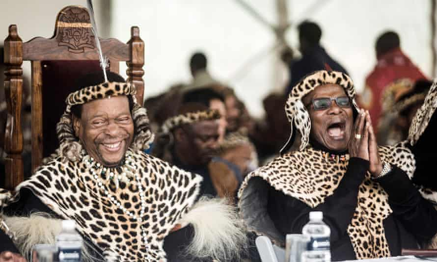 King Goodwill Zwelithini of the Zulu nation, left, and the political leader and former chief minister Mangosuthu Buthelezi at the King Shaka day celebration, 2019.