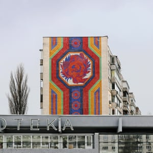 A Soviet mosaic on residential blocks in the Shuliavka neighbourhood, in the Shevchenkivskyi district of Kiev