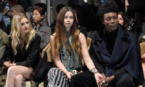 London calling: on the front row at Burberry during London Fashion Week, with Lily Donaldson (far left) and Flo Morrissey