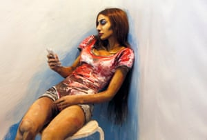 Model Inna Magomedova is 'The Alive Painting', a body art work by artist Maria Gasanova showing at the annual art festival in the Siberian city of Krasnoyarsk