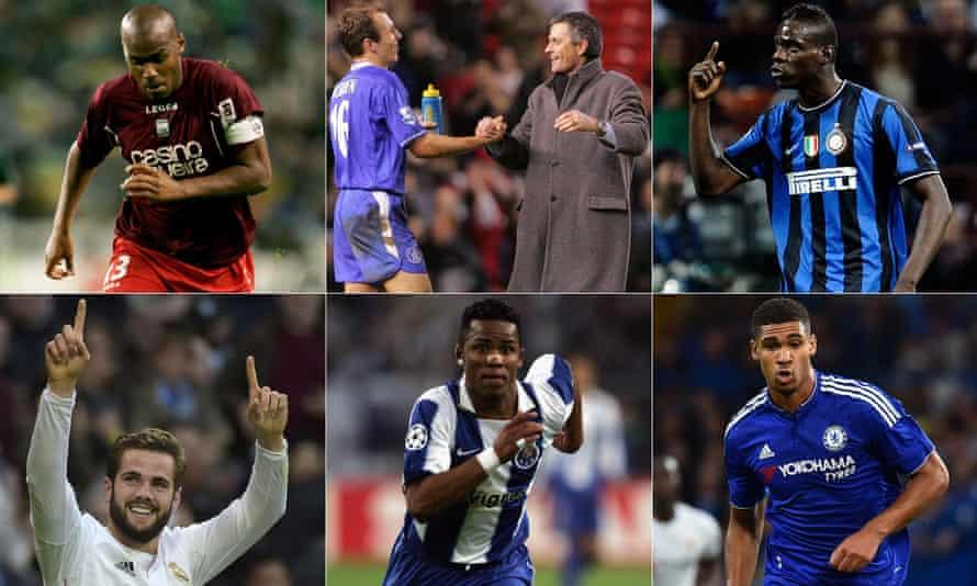 José Mourinho with Arjen Robben, and Joao Paulo, Mario Balotelli, Ruben Loftus-Cheek, Carlos Alberto and Nacho.