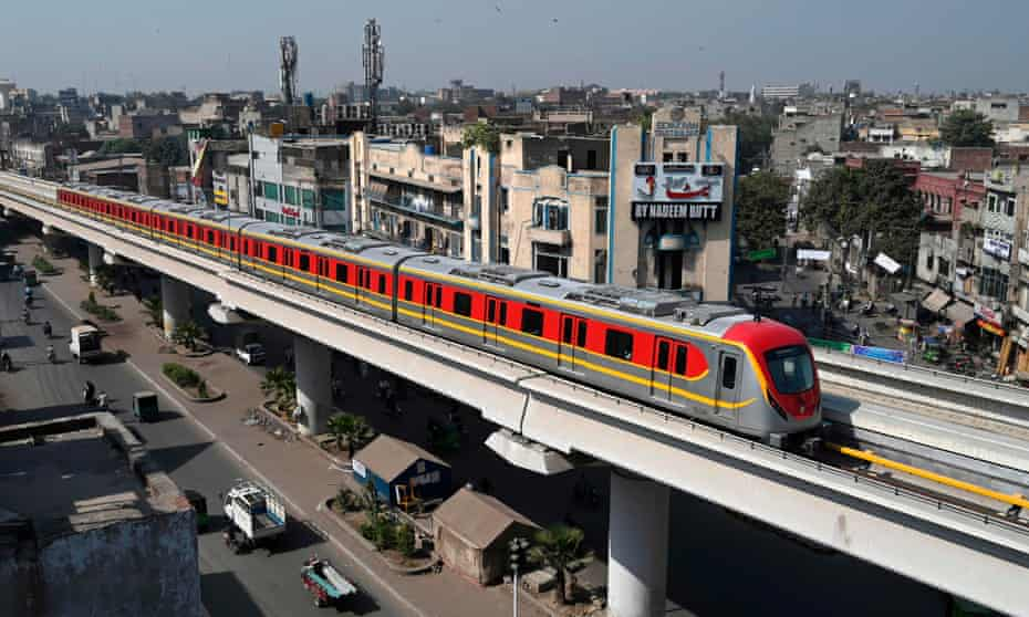 A newly built Orange Line Metro Train Lahore