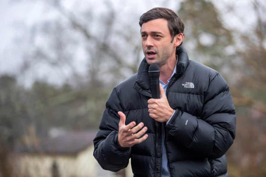 Jon Ossoff speaks to supporters in Stone Mountain, Georgia on Saturday.